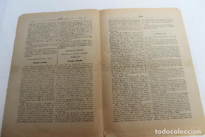 Documentos antiguos: BOLETIN DE VENTAS DE BIENES NACIONALES PROVINCIA DE MURCIA, 21 FEBRERO 1888, Nº 695, MULA - Foto 4 - 194887071