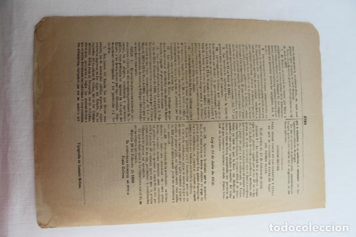 Documentos antiguos: BOLETIN DE VENTAS DE BIENES NACIONALES PROVINCIA DE MURCIA, 21 FEBRERO 1888, Nº 695, MULA - Foto 5 - 194887071