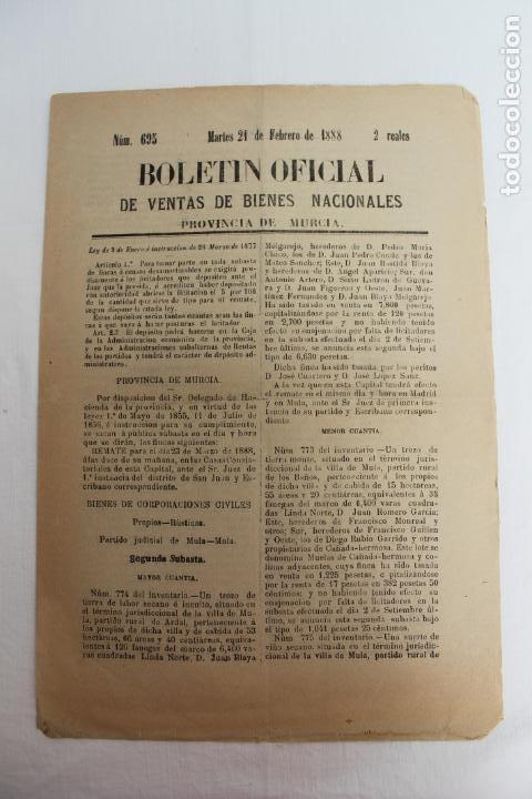 BOLETIN DE VENTAS DE BIENES NACIONALES PROVINCIA DE MURCIA, 21 FEBRERO 1888, Nº 695, MULA (Coleccionismo - Documentos - Otros documentos)