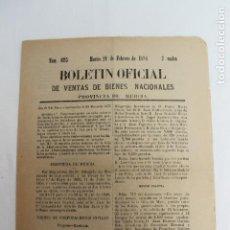 Documentos antiguos: BOLETIN DE VENTAS DE BIENES NACIONALES PROVINCIA DE MURCIA, 21 FEBRERO 1888, Nº 695, MULA. Lote 194887071