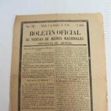 Documentos antiguos: BOLETIN DE VENTAS DE BIENES NACIONALES PROVINCIA DE MURCIA, 2 OCTUBRE 1886, Nº 695, CIEZA. Lote 194887257