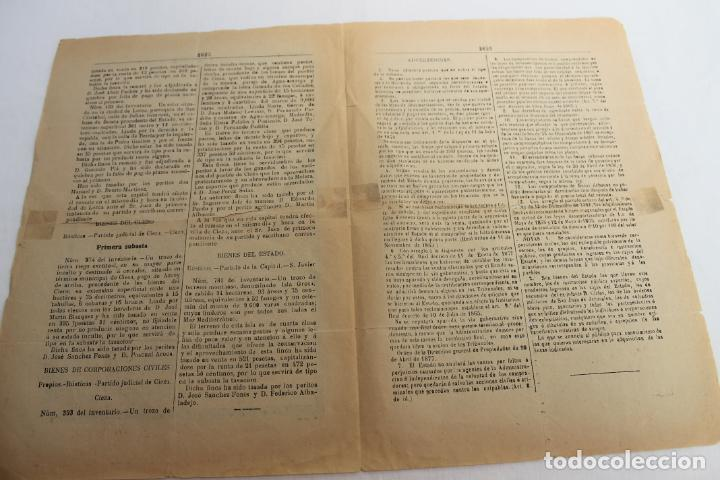 Documentos antiguos: BOLETIN DE VENTAS DE BIENES NACIONALES PROVINCIA DE MURCIA, NOVIEMBRE 1886, Nº 666, LORCA - Foto 3 - 194887932