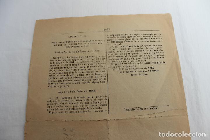 Documentos antiguos: BOLETIN DE VENTAS DE BIENES NACIONALES PROVINCIA DE MURCIA, NOVIEMBRE 1886, Nº 666, LORCA - Foto 4 - 194887932