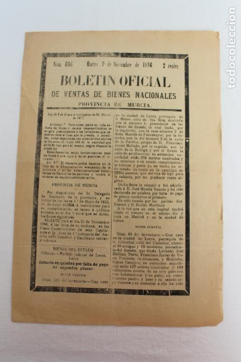 BOLETIN DE VENTAS DE BIENES NACIONALES PROVINCIA DE MURCIA, NOVIEMBRE 1886, Nº 666, LORCA (Coleccionismo - Documentos - Otros documentos)
