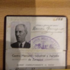 Documentos antiguos: ZARAGOZA. CASINO MERCANTIL, INDUSTRIAL Y AGRICOLA. ANTIGUO CARNET DE SOCIO. Lote 194888053