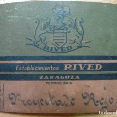 Documentos antiguos: ESTABLECIMIENTOS RIVED, ZARAGOZA. SECCIÓN DE FARMACIA. ETIQUETA.. Lote 194897361
