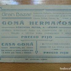 Documentos antiguos: GRAN BAZAR GOMAHERMANOS. SASTRERIA, PAÑERIA... Lote 194898282