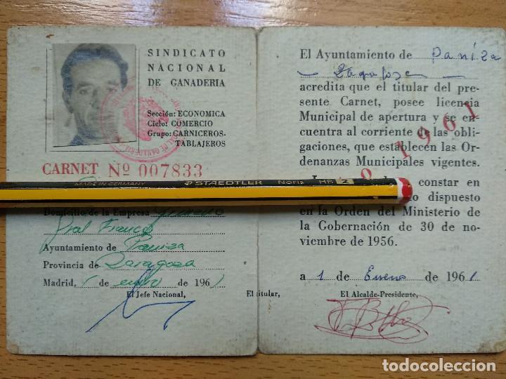 FALANGE - SINDICATO VERTICAL DE GANADERIA: CARNET PROFESIONAL DE CARNICERO. PANIZA, ZARAGOZA, 1961. (Coleccionismo - Documentos - Otros documentos)