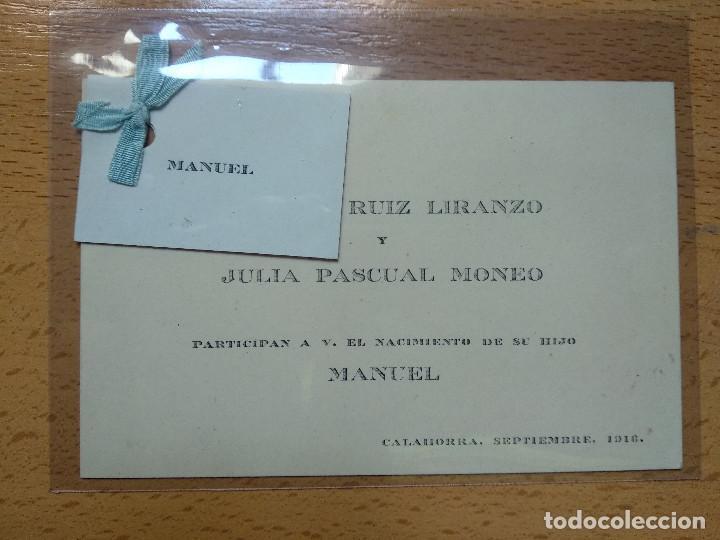 TARJETA INVITACIÓN NACIMIENTO, CALAHORRA LA RIOJA. AÑO 1916. (Coleccionismo - Documentos - Otros documentos)