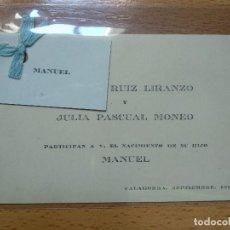 Documentos antiguos: TARJETA INVITACIÓN NACIMIENTO, CALAHORRA LA RIOJA. AÑO 1916.. Lote 194899185
