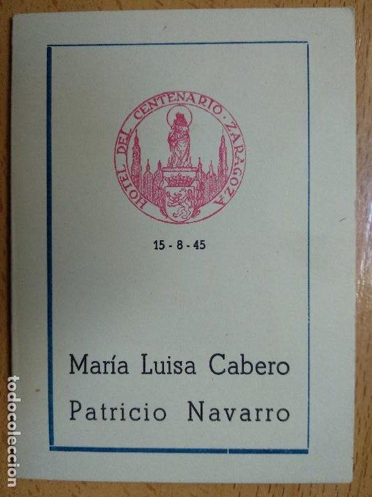 HOTEL DEL CENTENARIO. ZARAGOZA, AÑO 1945. MINUTA. (Coleccionismo - Documentos - Otros documentos)