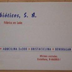 Documentos antiguos: 1 TARJETA DE VISITA DE ** ANTIBIÓTICOS.S.A. ** . Lote 194943883