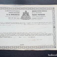 Documentos antiguos: CERTIFICADO DE AUTENTICIDAD DE RELIQUIA 1865. OBISPADO DE OSMA, SORIA. Lote 194946445