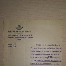 Documentos antiguos: DOCUMENTO REPUBLICA ESPAÑOLA REUTILIZADO CUERPO DE TELEGRAFOS,BURGUILLOS DEL CERRO, BADAJOZ,AÑO 1942. Lote 194981922