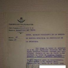 Documentos antiguos: DOCUMENTO REPUBLICA ESPAÑOLA REUTILIZADO CUERPO DE TELEGRAFOS,BURGUILLOS DEL CERRO, BADAJOZ,AÑO 1942. Lote 194982267
