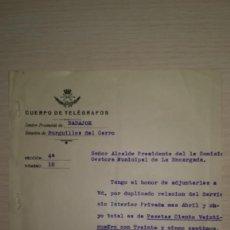 Documentos antiguos: DOCUMENTO REPUBLICA ESPAÑOLA REUTILIZADO CUERPO DE TELEGRAFOS,BURGUILLOS DEL CERRO, BADAJOZ,AÑO 1942. Lote 194982352