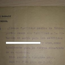 Documentos antiguos: DOCUMENTO TRASLADO DE PRESO DESDE BURGUILLOS DEL CERRO A ZAFRA, BADAJOZ, AÑO 1942.. Lote 194983017