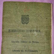 Documentos antiguos: CARTILLA MILITAR VERDE REMPLAZO 1952 NAVA DE AREVALO AVILA. SE ENVIARÁ LA CARTILLA DE LA FOTOGRAFÍA.. Lote 195022855