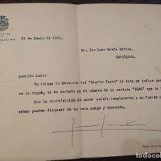 Documentos antiguos: 1951 CARTA DE LUIS SALDAÑA ALCALDE SAN SEBASTIAN LUYS SANTAMARINA FALANGE DONOSTI EGAN DIARIO VASCO. Lote 195035165