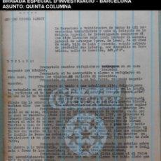 Documentos antiguos: QUINTA COLUMNA - DETENIDA - BRIGADA ESPECIAL D'INVESTIGACIO - CAT - 1937 - GUERRA CIVIL - REF209. Lote 195040308