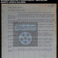 Documentos antiguos: QUINTA COLUMNA - DETENIDO - BRIGADA ESPECIAL D'INVESTIGACIO - CAT - 1937 - GUERRA CIVIL - REF214. Lote 195042012