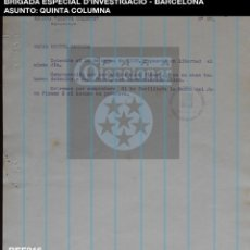 Documentos antiguos: QUINTA COLUMNA - DETENIDA - BRIGADA ESPECIAL D'INVESTIGACIO - CAT - 1937 - GUERRA CIVIL - REF216. Lote 195042382