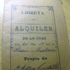 Documentos antiguos: LIBRETA DE ALQUILER DE CASA EN MATARO AÑO 1910 . PAGOS CONDICIONES . Lote 195053423