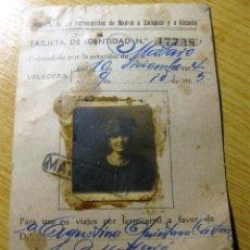 Documentos antiguos: TARJETA IDENTIDAD COMPAÑIA FERROCARRILES DE MADRID A ZARAGOZA ALICANTE 1935 MATARO . Lote 195055286