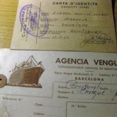 Documentos antiguos: TARJETA DE EMBARQUE Y CARTA DE IDENTIDAD BUQUE BARCO BENISANET 1957 AGENCIA VENGUT BARCELONA CARNET. Lote 195057580