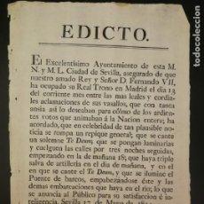 Documentos antiguos: EDICTO DEL AYUNTAMIENTO DE SEVILLA SOBRE EL NOMBRAMIENTO DE FERNANDO VII REY DE ESPAÑA, AÑO 1814. Lote 195058442