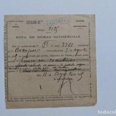 Documentos antiguos: 1895 FERROCARRILES CAMINOS DE HIERRO DEL NORTE - ESTACION DE BURGOS - NOTA DE SUMAS SATISFECHAS. Lote 195110255