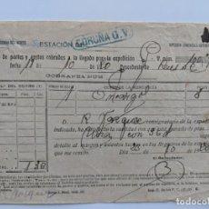 Documentos antiguos: 1920 FERROCARRILES CAMINOS DE HIERRO DEL NORTE - RECIBI - ESTACION DE LA CORUÑA. Lote 195110423