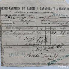 Documentos antiguos: 1864 FERROCARRILES DE MADRID A ZARAGOZA Y ALICANTE ESTACIONES DE ZARAGOZA MEDINA DEL CAMPO RESGUARDO. Lote 195111063