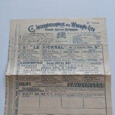 Documentos antiguos: 1898 COMPAÑIA INTERNACIONAL DE WAGONS-LITS - RESEERA Nº 16960 - MUY RARO. Lote 195111493