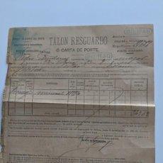 Documentos antiguos: 1893 FERROCARRILES CAMINOS DE HIERRO DEL NORTE - TALON RESGUARDO - CARTA PORTE - ESTACION DE BILBAO. Lote 195111923