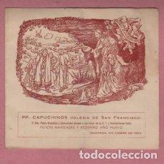 Documentos antiguos: PROGRAMA D FIESTAS DIPTICO PP CAPUCHINOS IGLESIA D SAN FRANCISCO DE MANRESA 1959 . Lote 195113532