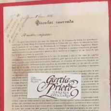 Documentos antiguos: VALLADOLID, CREACION DE UN COLEGIO DE HUERFANOS DEL CUERPO DE ARTILLERIA 1896 BURGOS. Lote 195118745