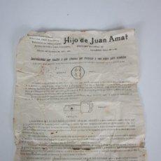 Documentos antiguos: PUBLICIDAD BASCULAS, BALANZAS, ARCAS DE CAUDALES -HIJO DE JUAN AMAT -INSTRUCCIONES CAJAS DE CAUDALES. Lote 195124513