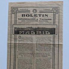 Documentos antiguos: 1930 FERROCARRILES BOLETIN DE INFORMACION Y TURISMO - INDUSTRIAS DE MENDOZA VITORIA PLANO DE MADRID. Lote 195131868