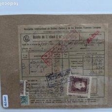 Documentos antiguos: 1940 FERROCARILES BILLETE BOLETIN 1ª CLASE WAGONS LITS SELLO JOSE ANTONIO ¡VIVA ESPAÑA!. Lote 195133343