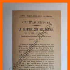 Documentos antiguos: ANUNCIO EDITORIAL - OBRITAS NUEVAS: LA SANTIFICACIÓN DEL DOMINGO - E. VERLET DU MESNIL. Lote 195140421