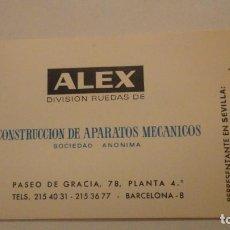 Documentos antiguos: ANTIGUA TARJETA COMERCIAL.ALEX.CONSTRUCCION APARATOS MECANICOS.RUEDAS.ENRIQUE CARLOS GONZALEZ. Lote 195144140