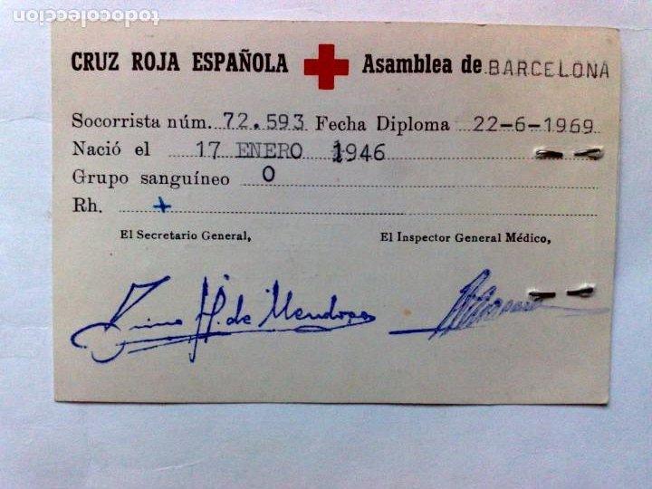 Documentos antiguos: TARJETA PERSONAL DE LA CRUZ ROJA ESPAÑOLA DE SOCORRISTA,DIPLOMA DESDE 1969,ASAMBLEA DE BARCELONA - Foto 2 - 195166398