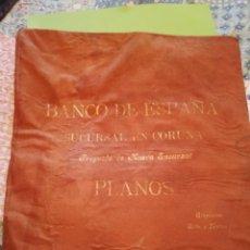 Documentos antiguos: ANTIGUOS PLANOS TELA BANCO DE ESPAÑA CORUÑA 54X45CM. Lote 195167332