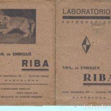 Documentos antiguos: SOBRE DE LABORATOTIO FOTOGRAFICO RIBA BARCELONA . Lote 195168761