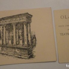 Documentos antiguos: ANTIGUA INVITACION.OLALLA.FIESTA LITERARIA Y MERIENDA.TEATRO ROMANO.MERIDA 1958. Lote 195179982