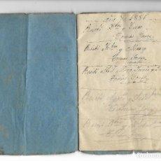 Documentos antiguos: CURIOSA LIBRETA MANUSCRITA DEL AÑO 1886 EN QUE SE ANOTA EL COBRO DEL ALQUILER DE LA VIVIENDA - VER . Lote 195180036