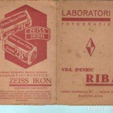 Documentos antiguos: SOBRE DE LABORATOTIO FOTOGRAFICO RIBA BARCELONA. Lote 195191727