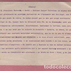 Documentos antiguos: DOCUMENTO O CARTA DE LO BISBE DE VICH VIC - DIRIGIDA AL SENYOR TORRRELLAS 1914. Lote 195196393