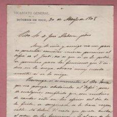 Documentos antiguos: DOCUMENTO O CARTA DIPTICA DEL VICARIATO GENERAL DE LA DIÓCESISI DE VICH VIC - 1908. Lote 195196515